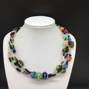 Chico's Jewelry - Chico's Colorful Art Glass Beaded Necklace Blue +